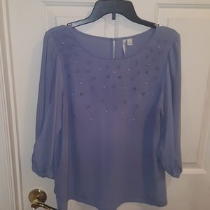Blue pearl and Floral Blouse